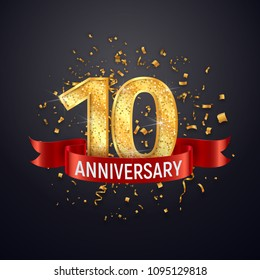 10 years anniversary logo template on dark background. Tenth celebrating golden numbers with red ribbon vector and confetti isolated design elements