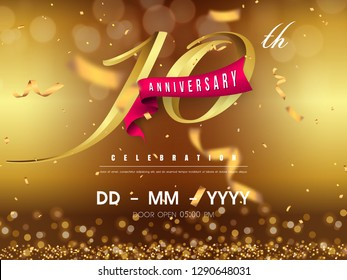 10 years anniversary logo template on gold background. 10th celebrating golden numbers with red ribbon vector and confetti isolated design elements