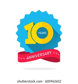 10 years anniversary logo template with shadow on blue color rosette and number, 10th anniversary icon label with ribbon, ten year birthday symbol isolated on white background
