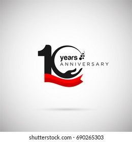 10 Years Anniversary Logo Template with ribbon