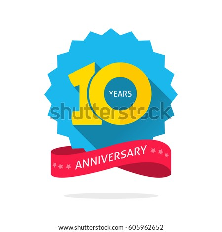 10 years anniversary logo template shadow のベクター画像素材