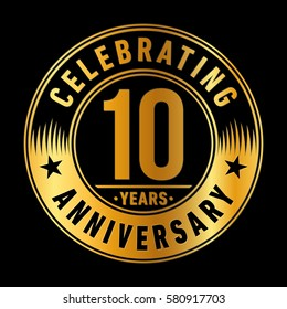 10 years anniversary logo. Vector and illustration.