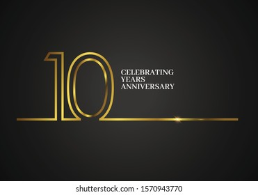 10 Years Anniversary logotype with golden colored font numbers made of one connected line, isolated on black background for company celebration event, birthday - Vector