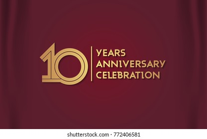 10 Years Anniversary Logotype with  Golden Multi Linear Number Isolated on Red Curtain Background