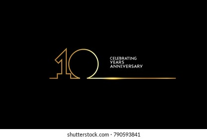 10 Years Anniversary logotype with golden colored font numbers made of one connected line, isolated on black background for company celebration event, birthday
