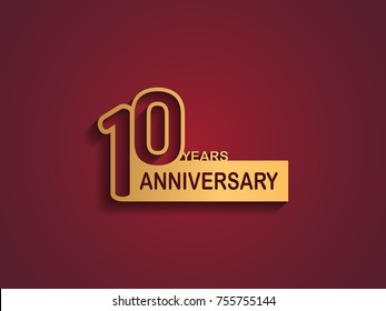 10 years anniversary logotype with outline number golden color on red background