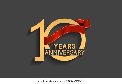 10 years anniversary logotype with red ribbon and golden color for celebration event