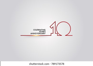 10 Years anniversary logotype with red colored  font numbers made of one  connected line, isolated on white background for company celebration event, birthday