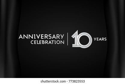 10 Years Anniversary Logotype with   Silver Multi Linear Number Isolated on Dark Background