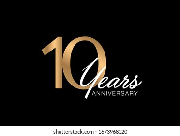 10 years anniversary poster.  Anniversary vector card. 10 years anniversary gold greeting card.