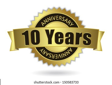 """10 Years Anniversary"" - Retro Golden Ribbon, EPS 10 vector illustration"