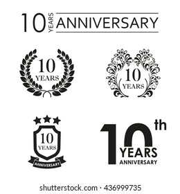 10 years anniversary set. Anniversary icon emblem or label collection. 10 years celebration and congratulation design element. Vector illustration.