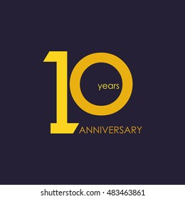 10 years anniversary, signs, symbols, which is yellow with flat design style