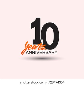 10 years anniversary simple design with negative style and yellow color isolated in white background