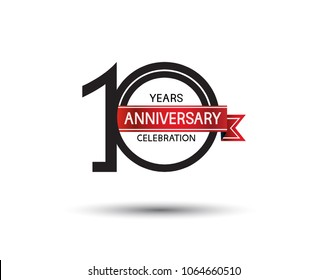 10 years anniversary simple logotype with black color with red ribbon isolated on white background for celebration event