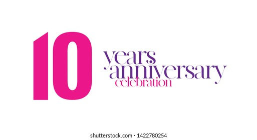 10 years anniversary, special tone of colors to celebrate special event for the first decade, female colors combination. -illustration