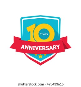 10 years anniversary sticker vector, color 10th anniversary party label with red ribbon, celebrating symbol with number ten isolated on white background, flat style