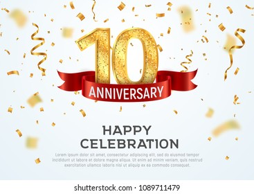 10 years anniversary vector banner template. Tenth year jubilee with red ribbon and confetti on white background