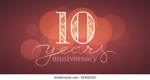 10 years anniversary vector banner, icon, logo. Graphic design element with bokeh effect for 10th birthday card or illustration