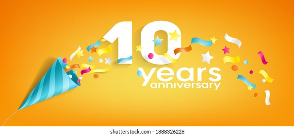10 years anniversary vector icon, logo, greeting card. Design element with slapstick for 10th anniversary