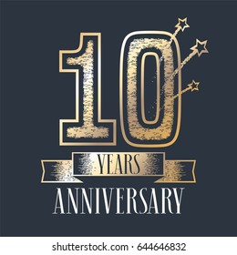 10 years anniversary vector icon,  logo. Graphic design element with ribbon and golden color and grunge texture number for 10th anniversary ceremony