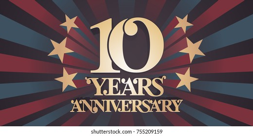 10 years anniversary vector icon,  logo, banner. Design element with abstract vintage background for 10th anniversary card