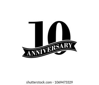 10 Years Anniversary Vector Logo Design Template. 10th Birthday Celebration.