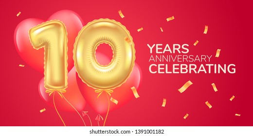 10 years anniversary vector logo, icon. Template banner with heart  air hot balloon for 10th anniversary greeting card