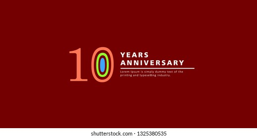 10 Years Anniversary Vector Template Design Illustration.