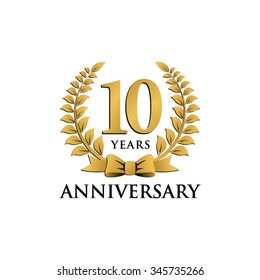 10 years anniversary wreath ribbon logo