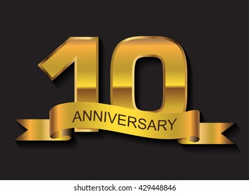 10 years anniversary.10 anniversary template design.Vector illustration.
