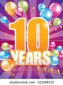 10 years birthday card full vector elements