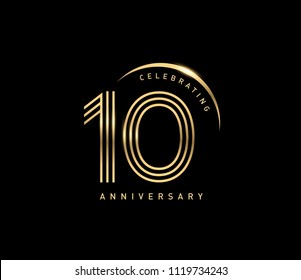 10 years gold anniversary celebration simple logo, isolated on dark background. celebrating Anniversary logo with ring and elegance golden color vector design for celebration,