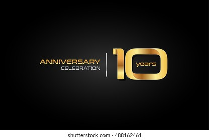 10 years gold anniversary celebration logo, isolated on dark background