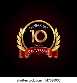 10 years gold anniversary celebration logo with red ribbon , isolated on dark background
