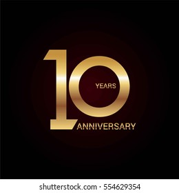 10 years gold anniversary celebration simple logo, isolated on dark background