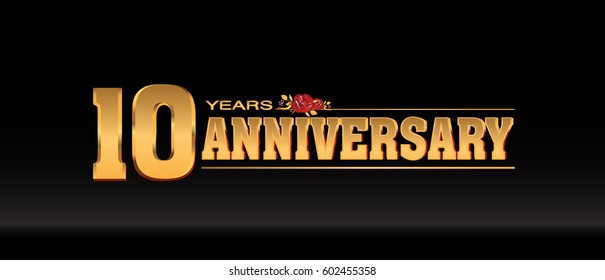 10 Years gold anniversary celebration logo, anniversary for celebration, birthday, wedding and party