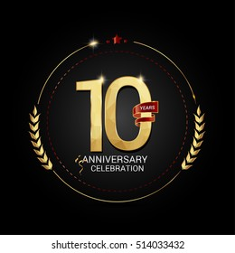 10 years golden anniversary logo with red ribbon, low poly design number, isolated on black background