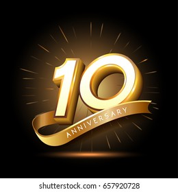 10 years golden anniversary logo celebration with firework and ribbon
