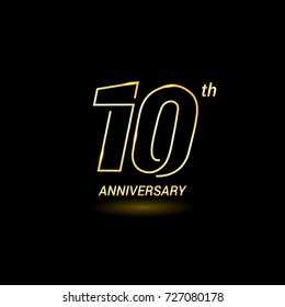 10 years golden line anniversary celebration logo design