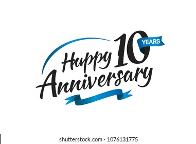 10 years happy anniversary celebration with blue swoosh and blue ribbon isolated on white background