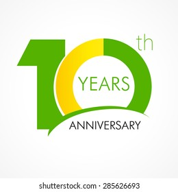 10 years old celebrating classic logo. Colored happy anniversary 10 th template numbers. Greetings celebrates. Traditional framed digits of ages. Special prize, % off, O or 0. Card's or label's idea.