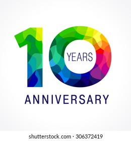 10 years old celebrating colored logo. Anniversary year of 10 th vector template numbers. Happy birthday greetings celebrates. Stained-glass digits of ages. Mosaic pattern figures in various colors.