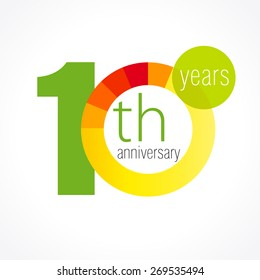 10 years old logotype. Abstract coloured 10 th abstract template medal. Greetings celebrates. Celebrating colgratulating isolated numbers, symbol of age. Financial -10, 0, - % percent off shape sign.