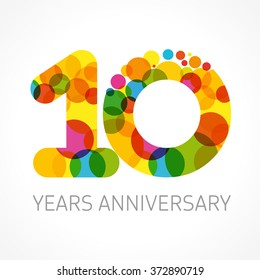 10 years old multicolored logotype. Anniversary 10th greetings, congratulations pattern template. Isolated shape numbers. Abstract colored digits of percent % off, first 1st place, 0, letter O emblem.