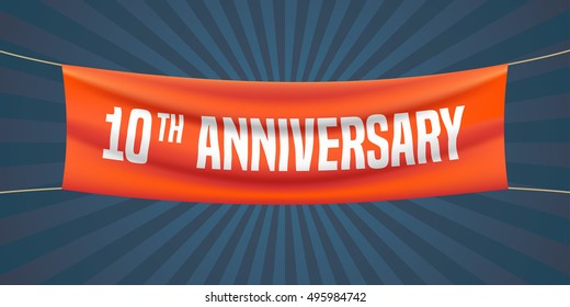 10 years vector illustration, banner, flyer, logo, icon, symbol. Graphic design element with red flag for 10th anniversary, birthday greeting, event celebration