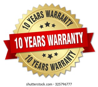10 years warranty 3d gold badge with red ribbon