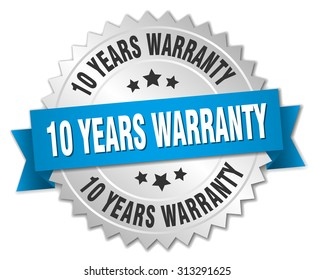 10 years warranty 3d silver badge with blue ribbon