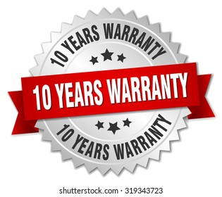10 years warranty 3d silver badge with red ribbon