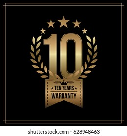 10 Years Warranty background with gold ribbon and olive branch on white. Poster, label, badge or brochure template. Vector illustration